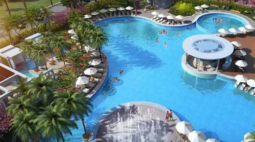 现代滨海热带园林,户外恒温泳池及水系,室内外儿童娱乐区域,双空间