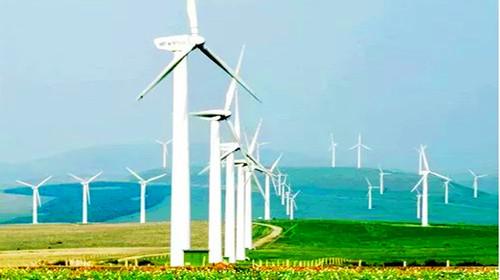 草原风车群 站在巨大的风车下,听风车转动和发电机巨大的轰鸣声,看图片