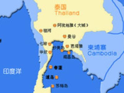 芭提雅到泰国地图