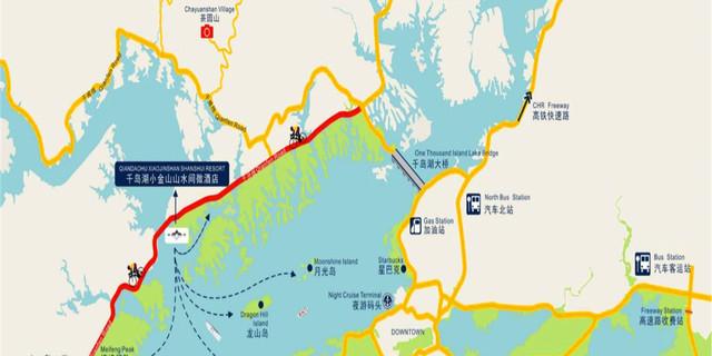 位于千岛湖绿色环湖骑行道千汾线上,距离千岛湖镇城区15分钟车程