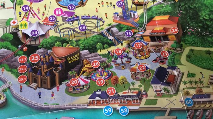 游乐场地图5(17~26为非惊险项目,适合较小儿童)
