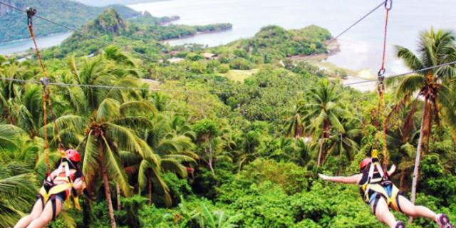 高空滑索上鸟瞰菲律宾长滩岛(boracay)>