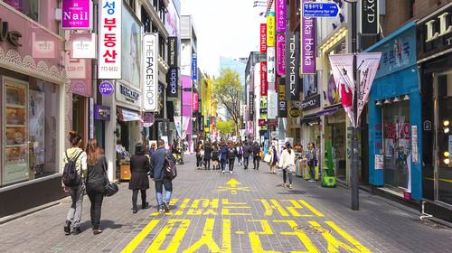 韓國手繪街景壁紙高清