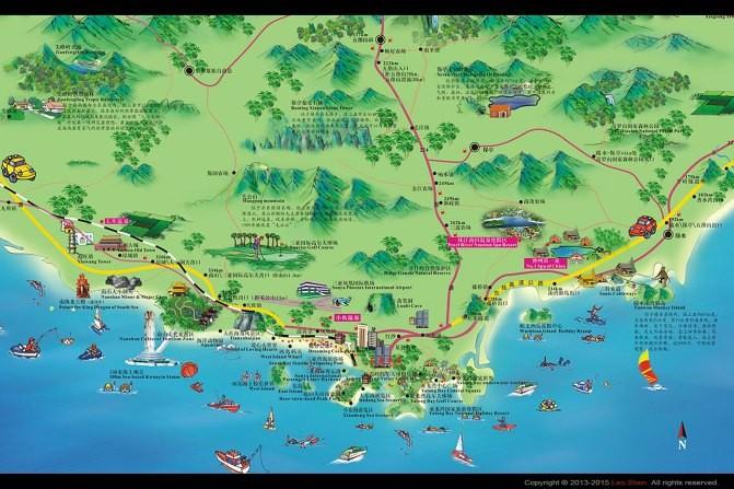 三亚手绘地图高清版