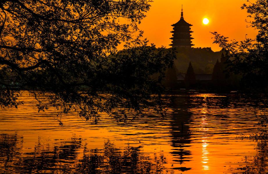杭州西湖景点图简笔画