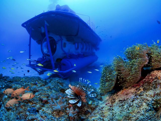 【亲子/探险】<毛里求斯梦幻海底摩托/潜水艇一日游>可选专车接送,探秘深海
