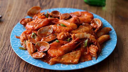韩式炒海鲜图片