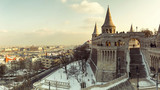 Winter panoramic cityscape of Budapest with Fishermen