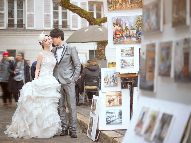 <法国巴黎5晚7日自由行>多种婚拍套系任选,资深摄影师拍摄,艾菲尔铁塔, 圣母院,卢浮宫,凯旋门等多场景拍摄,常驻巴黎华人团队,拍摄当天专车服务