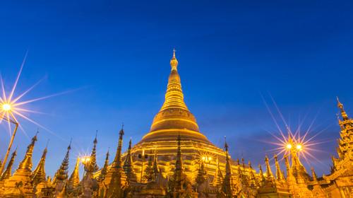 Shwedagon big golden pagoda at yangon, myanmar (burma) in evening.