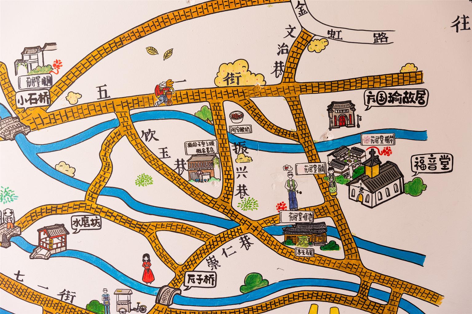 丽江古城简易手绘地图