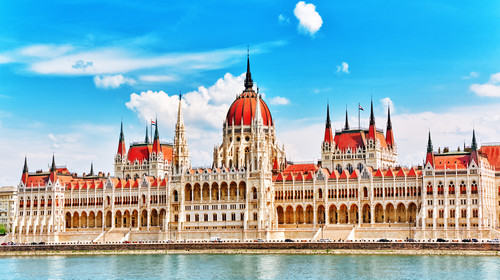 Hungarian Parliament at daytime. Budapest. One of the most beautiful buildings in the Hungarian capital.