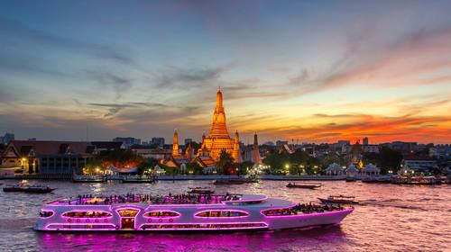 Wat Arun and cruise ship in twilight time
