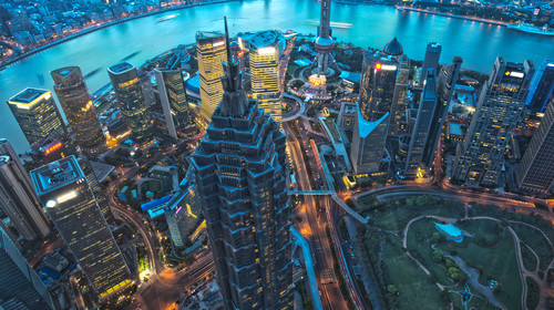 Shanghai Skyscraper at night, aerial view of high-rise buildings  in Pudong,Shanghai, China. Jin Mao Tower (one of China