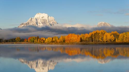 美国大提顿国家公园莫兰山湖光秋色