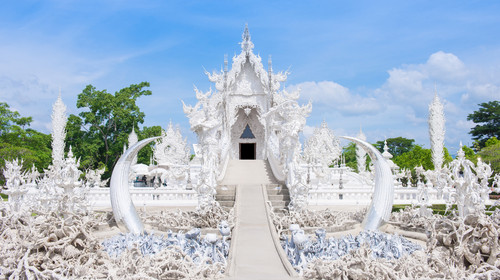 Famous Thailand temple or white temple, Wat Rong Khun,at Chiang Rai province, northern Thailand