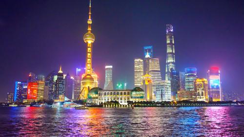 Night view of Illuminated Shanghai skyline and Huangpu river at night, Shanghai, China
