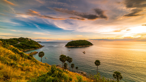 Sunset view beautiful Promthep Cape Phuket Thailand