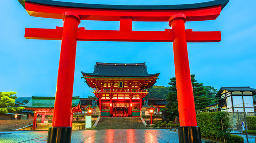 Main gate of Fushimi Inari-taisha shrine in Kyoto,Japan