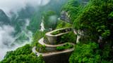 The winding road of Tianmen mountain national park (Zhangjiajie) in clouds mist, Hunan province, China