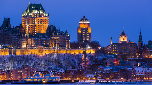 City skyline at night/twilight, Quebec City