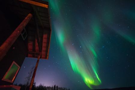 <美国阿拉斯加费尔班克斯4晚5日游>当地跟团北纬66度育空河极光营地住宿系列、北极光季