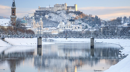 Salzburg covered in Snow, Austria