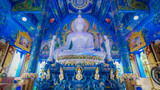 Chaing rai, Thailand-January 2017 : Buddha statue in blue temple is symbol of the Chaing rai.