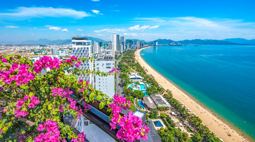 Southeast Asia, Vietnam, Nha Trang tropical coastal resort scenery