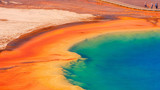 Yellowstone National Park.  Grand Prismatic Spring, Jackson Hole, Wyoming, USA.  Clear view from above.