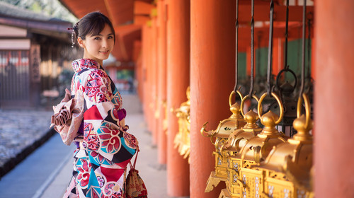 奈良公园的少女