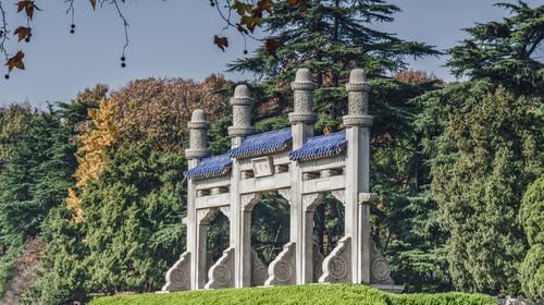 江苏省南京市中山陵博爱牌坊建筑景观