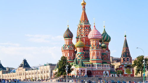 View of the Red Square with Vasilevsky descent in Moscow, Russia