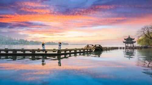 hangzhou scenery, sunset glow reflection in west lake ,China