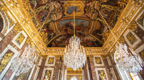 A luxury ceiling decoration in Versailles palace in Paris, Franc