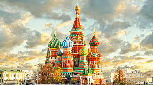 Moscow Red Square and Saint Basil s Cathedral in Moscow, Russia. Moscow architecture and landmarks. Moscow night view.
