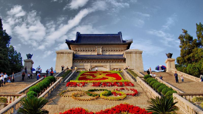 中山陵位于南京市玄武区紫金山南麓钟山风景区内,是中国近代伟大的