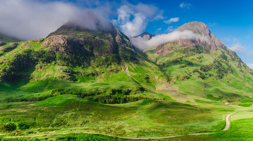 Sunrise at mountains of Glencoe in summer, Scotland