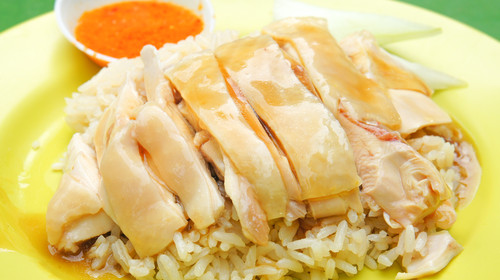 Hainanese steamed chicken rice, a famous dish in Singapore