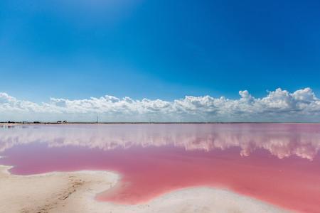 <墨西哥坎昆游粉红湖1日游>中文导游辅助拍摄凹造型、领略世界奇景、拍照必去的天然粉红湖