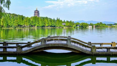 杭州西湖风光 雷峰塔 双投桥