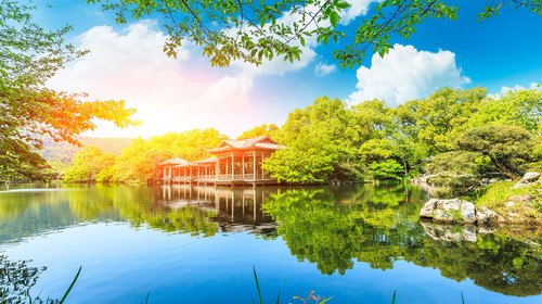 Beautiful Hangzhou West Lake Garden in the summer,China