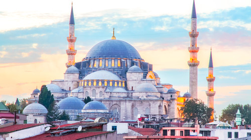 An evening view of mosques in Istanbul, Turkey