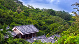 Slate roof on a house in the jungle. Yalong Bay Tropic Paradise Forest Park, Hainan, China.