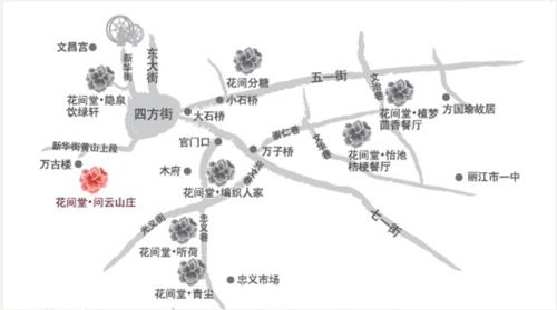 丽江大研古城手绘地图