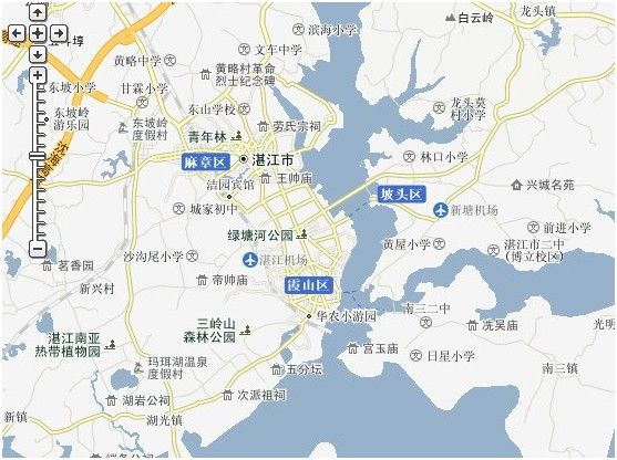 湛江市区简略地图如下,详细地图可到当地购买   湛江地图   高清图片