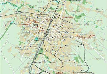 吉林省四平市城区道路交通地图