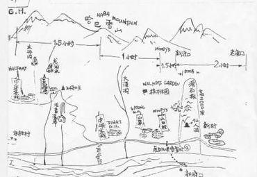 虎跳峡徒步手绘线路图.