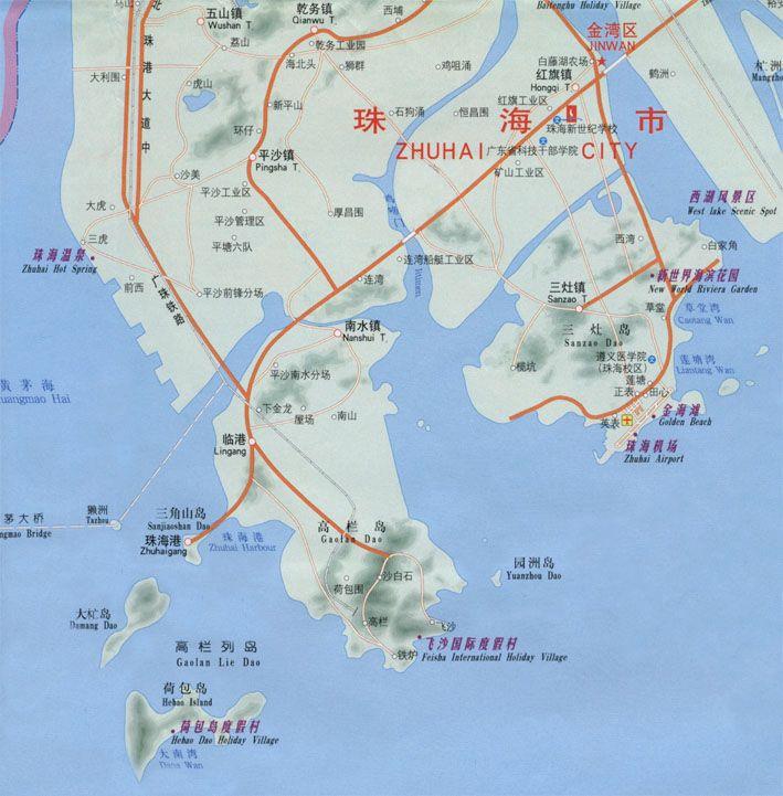 珠海地图; 珠海金湾区旅游图片;图片