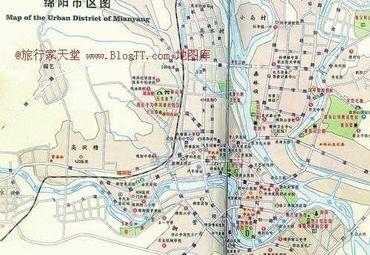 四川省绵阳市市区地图.